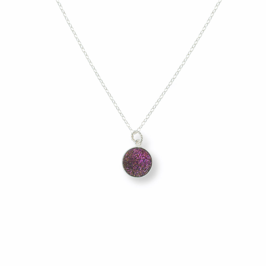Close-up of Circular Purple Druzy and Silver Necklace 'I Am Happy' on White Background Product Photo by Asha Blooms