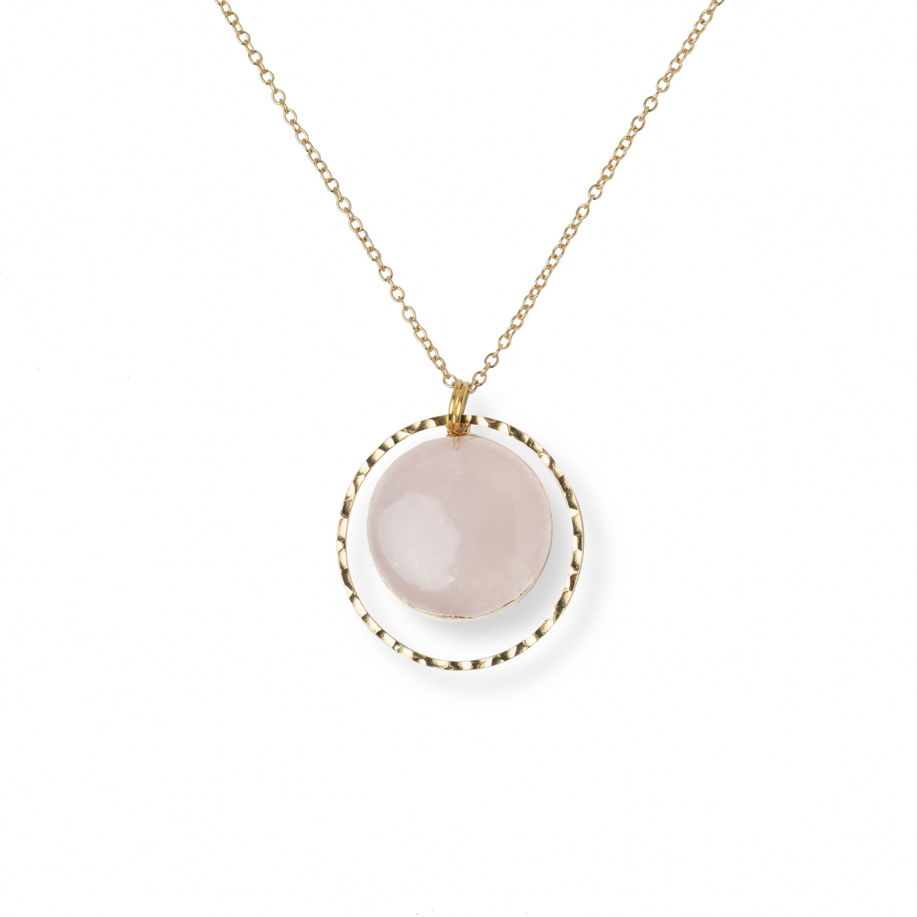 Close-up of Circular Rose Quartz and Gold Hammered Circle Necklace 'I Am Loved' on White Background Product Photo by Asha Blooms