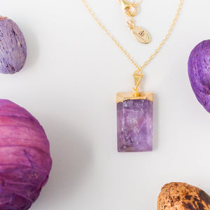 I Am Protected   Amethyst Long Necklace in Gold