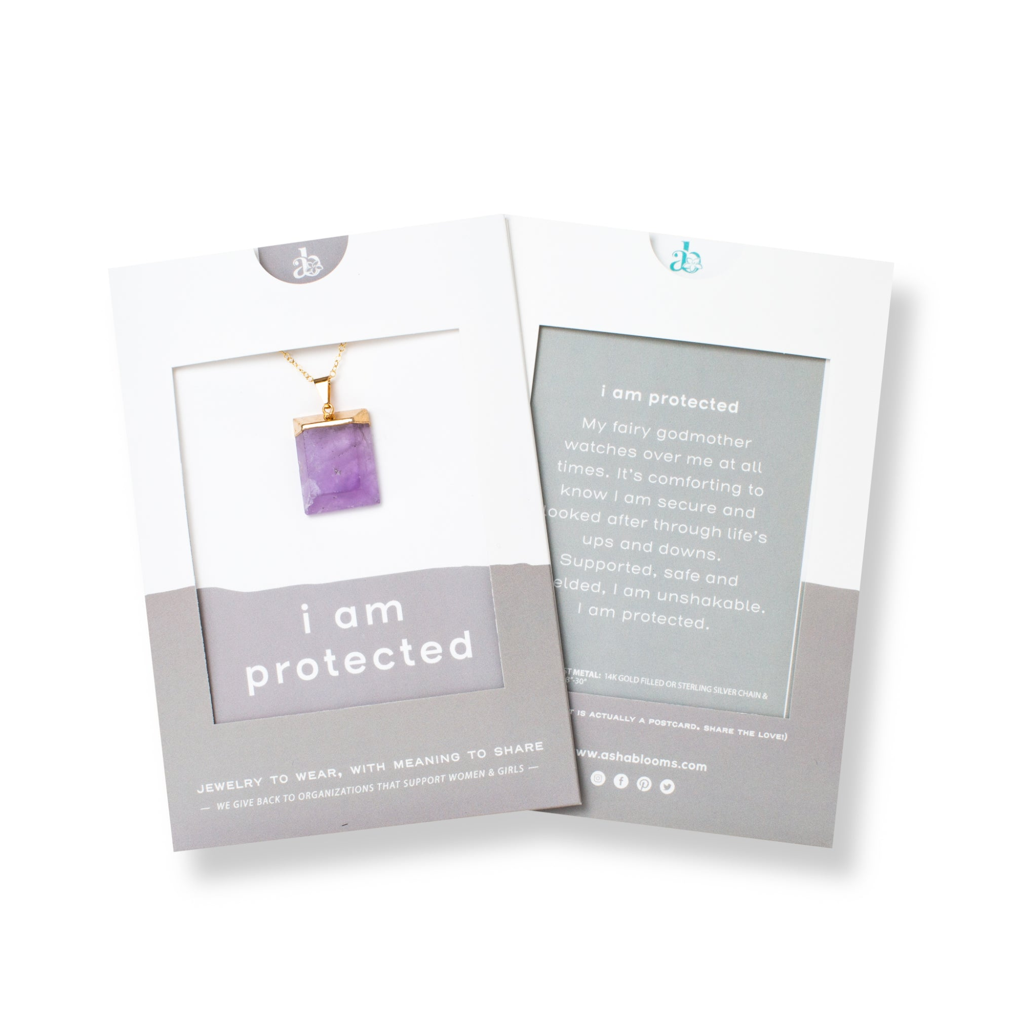 Rectangular Purple Amethyst and Gold Long Necklace 'I Am Protected' in Gray Gift Message Sleeve Packaging Photo by Asha Blooms