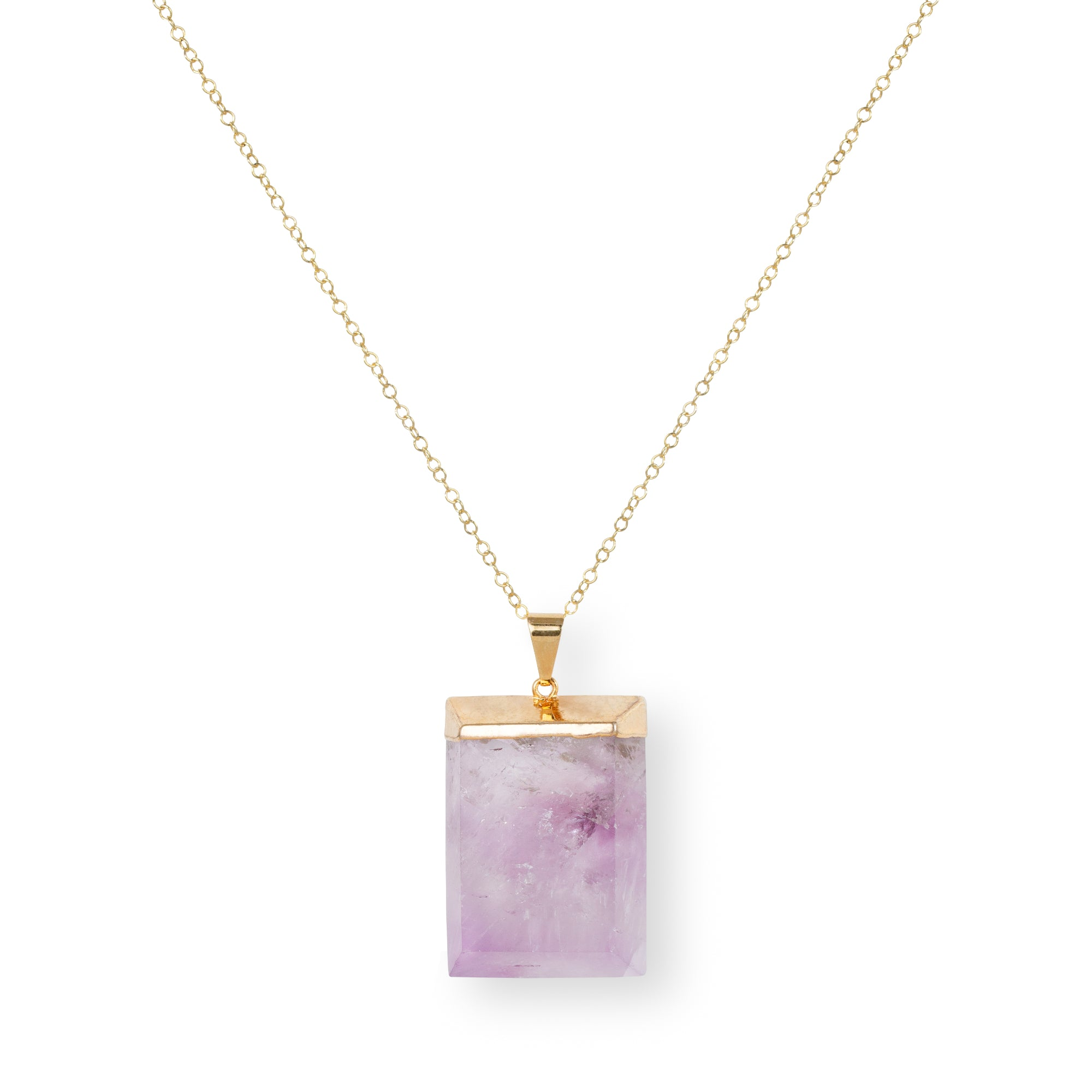 Close-up of Rectangular Purple Amethyst and Gold Long Necklace 'I Am Protected' on White Background Product Photo by Asha Blooms