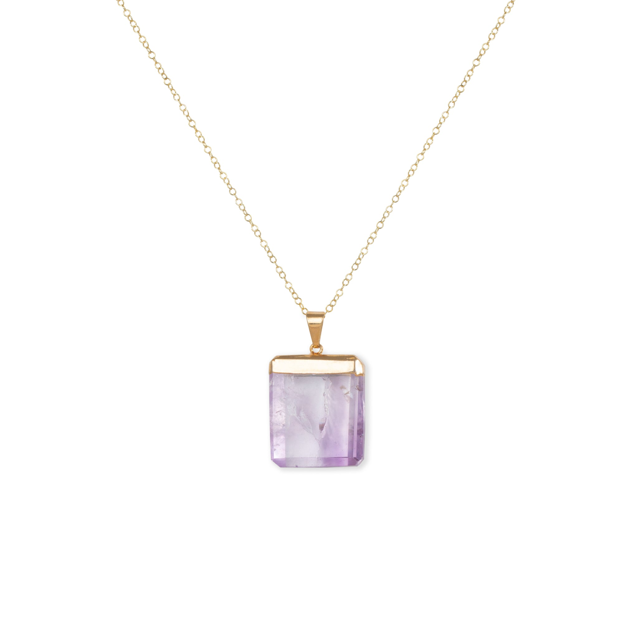 Close-up of Square Purple Amethyst and Gold Long Necklace 'I Am Protected' on White Background Photo by Asha Blooms