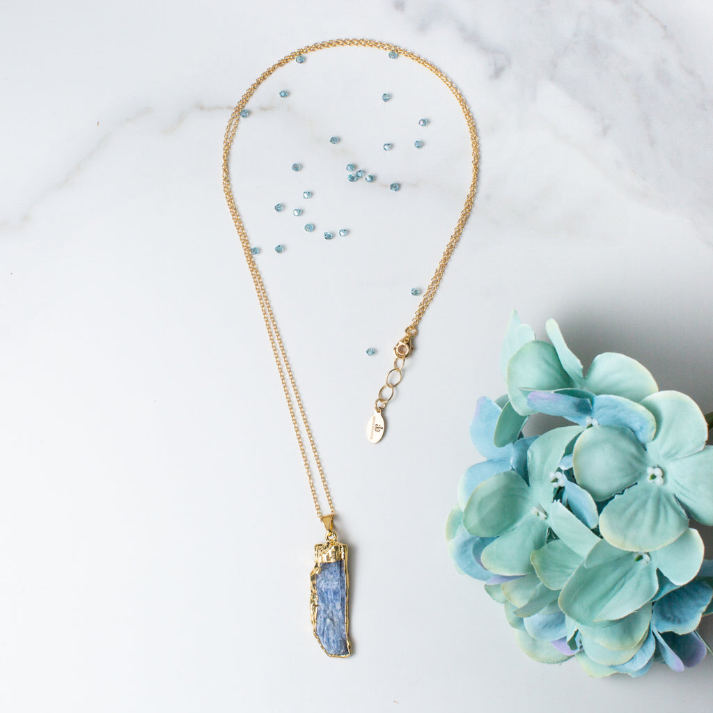 Natural Rectangle-shaped Kyanite and Gold Long Necklace 'I Am at Peace' Flat Lay with Blue Flowers and Crystals Photo by Asha Blooms