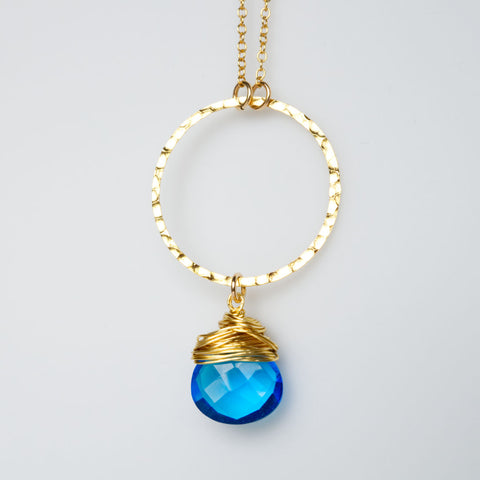I Am Whole Necklace - Gold with Blue Topaz