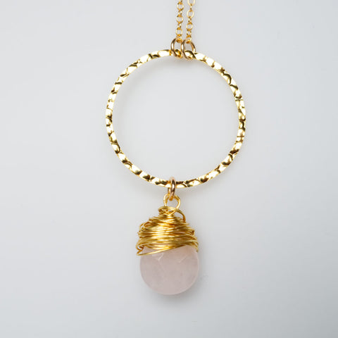 I Am Whole Necklace - Gold with Rose Quartz