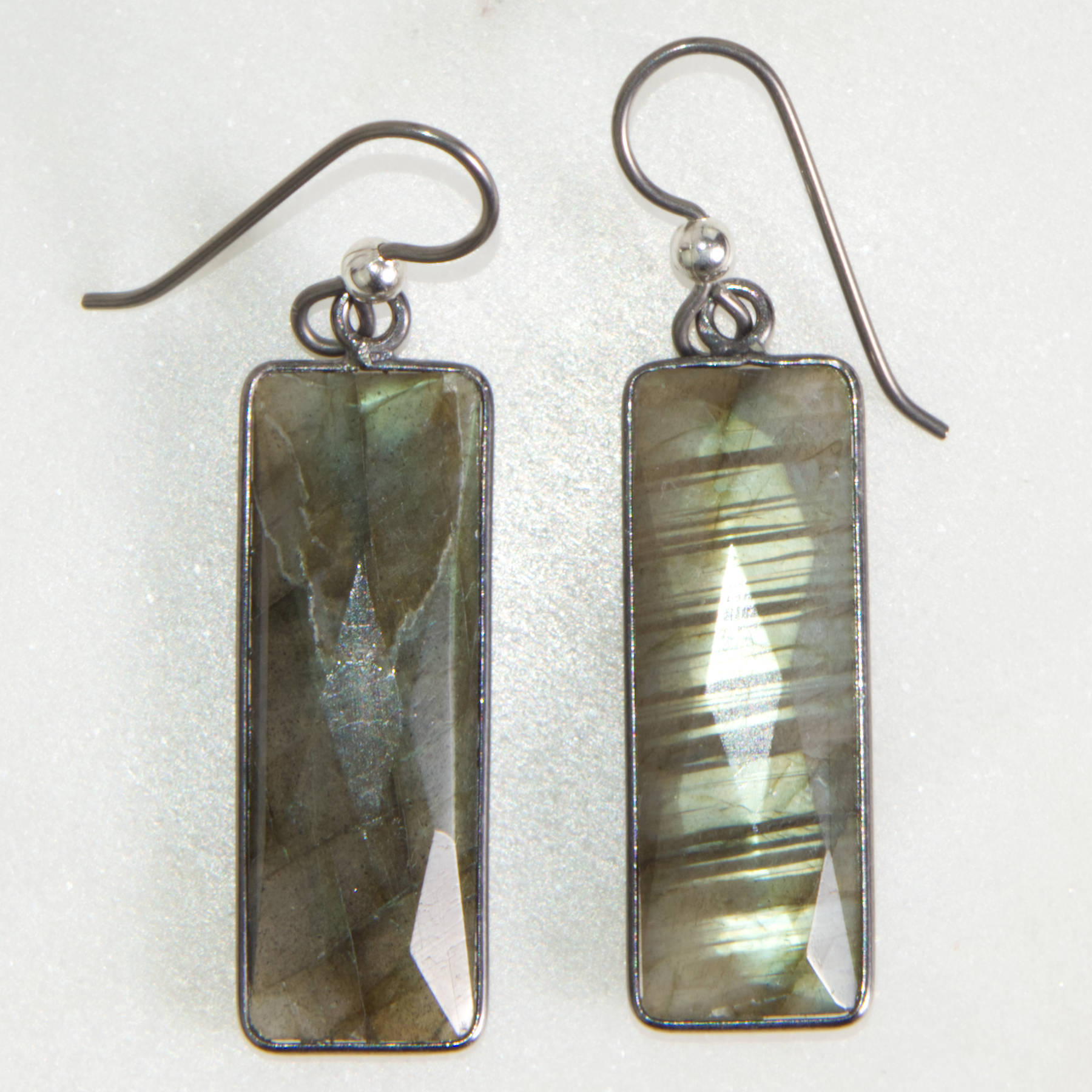 Labradorite Rectangle Earrings | Protection & Strength