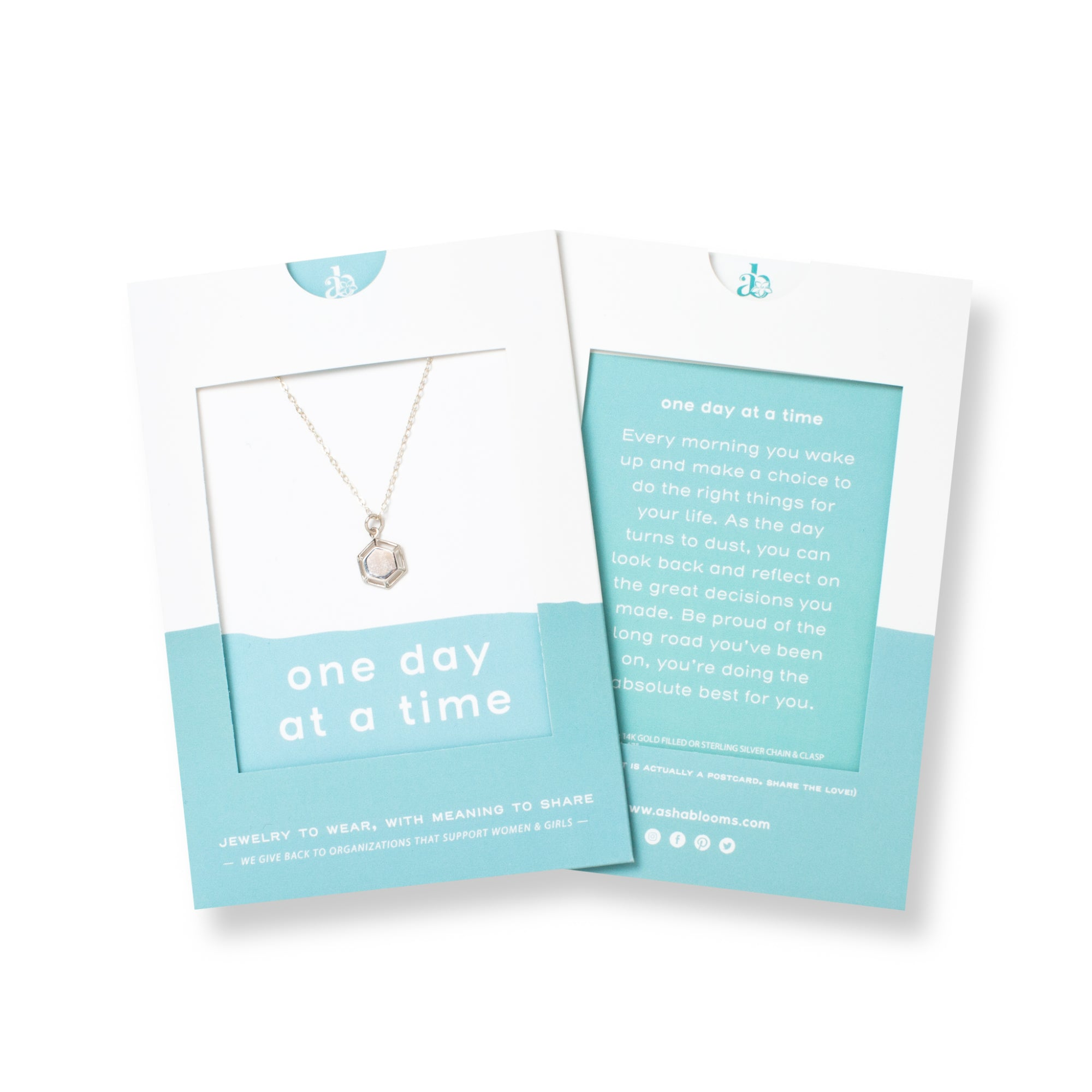 Silver Hexagon Pendant Necklace 'One Day at a Time' in Blue Gift Message Sleeve Packaging Photo by Asha Blooms