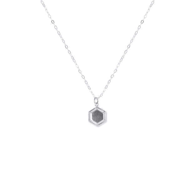 One Day at a Time   Silver Hexagon Pendant Necklace 1