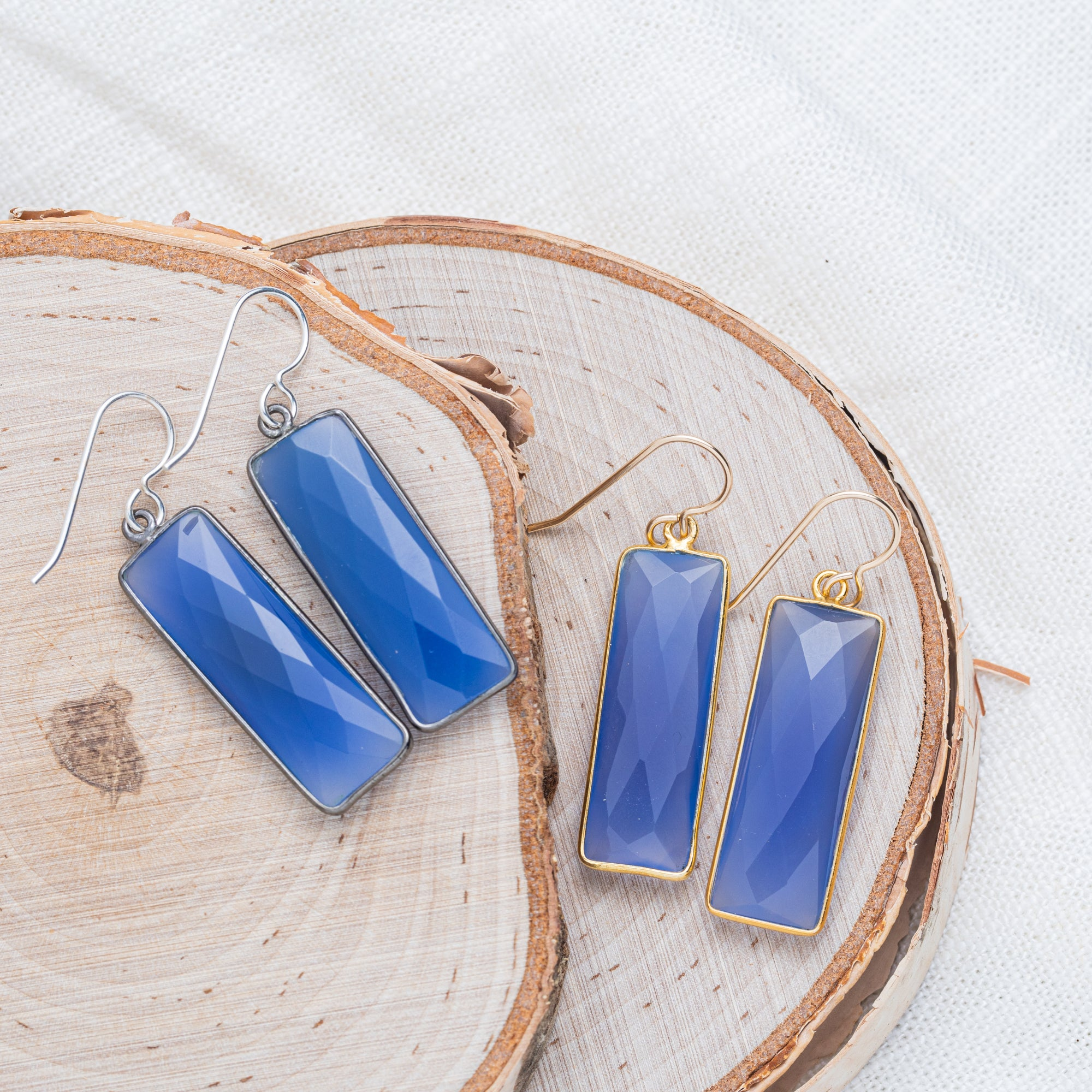 Santorini Blue Chalcedony Rectangle Gold or Silver Earrings | Kindness & Goodwill