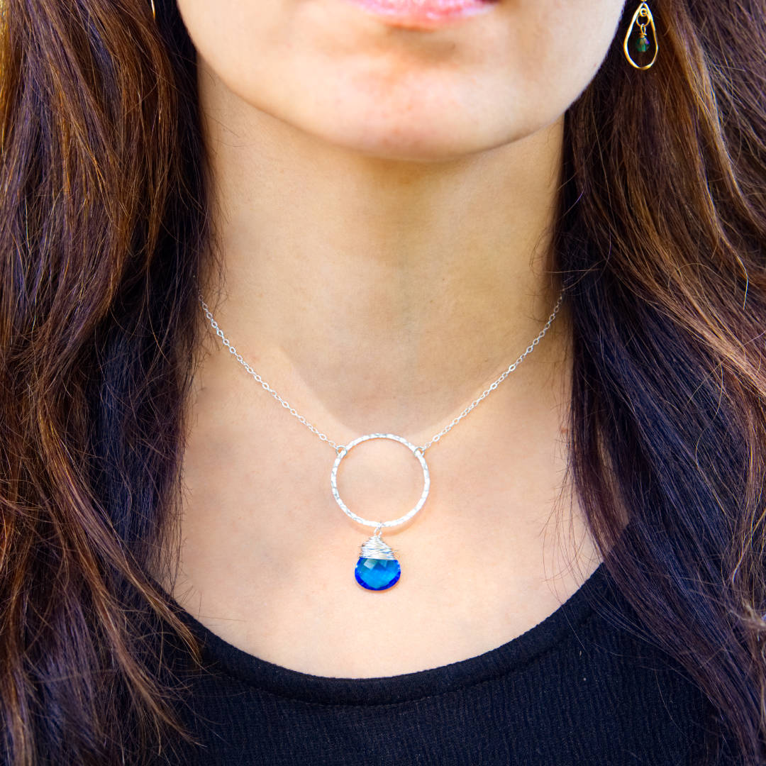 I Am Whole Necklace - Silver with Blue Topaz