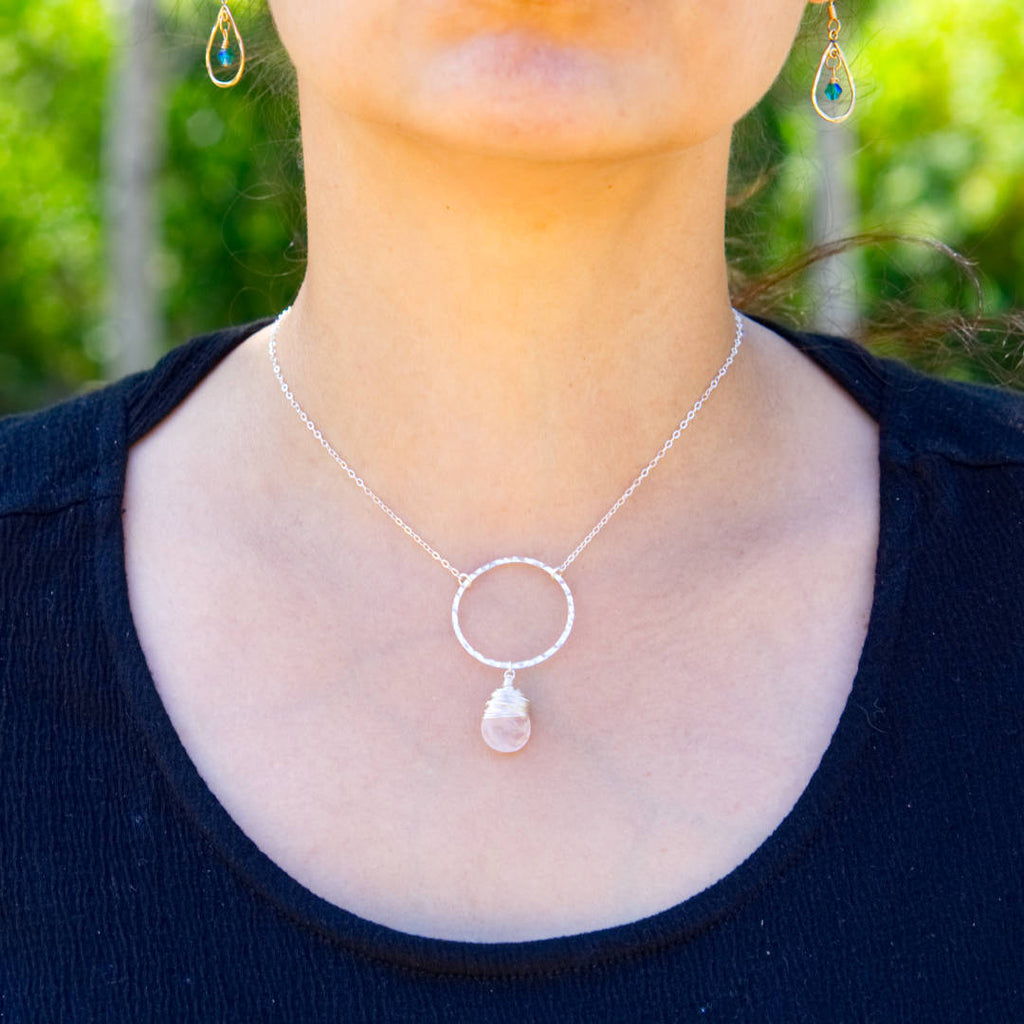 I Am Whole Necklace - Silver with Rose Quartz