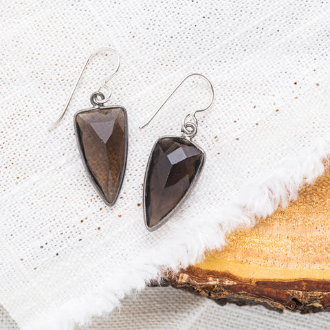 Smoky Quartz Spear Earrings | Protection, Grounding
