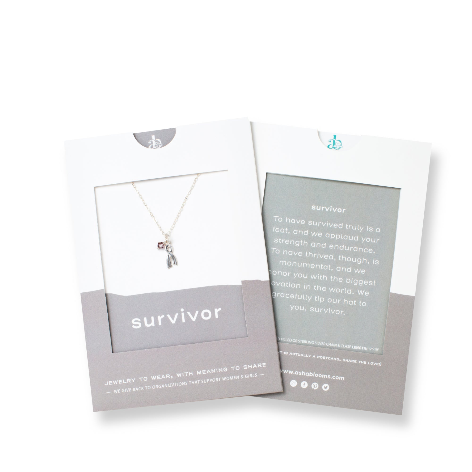 Silver Ribbon Pendant with Pink Crystal Necklace 'Survivor' in Gray Gift Message Sleeve Packaging Photo by Asha Blooms