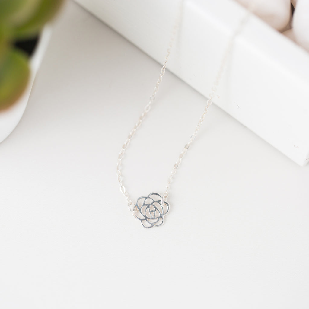 Silver Rose Pendant Necklace 'Thank You' Flat Lay Photo by Asha Blooms