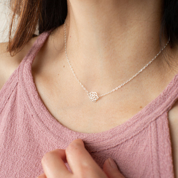 Thank You   Silver Rose Pendant Necklace 1