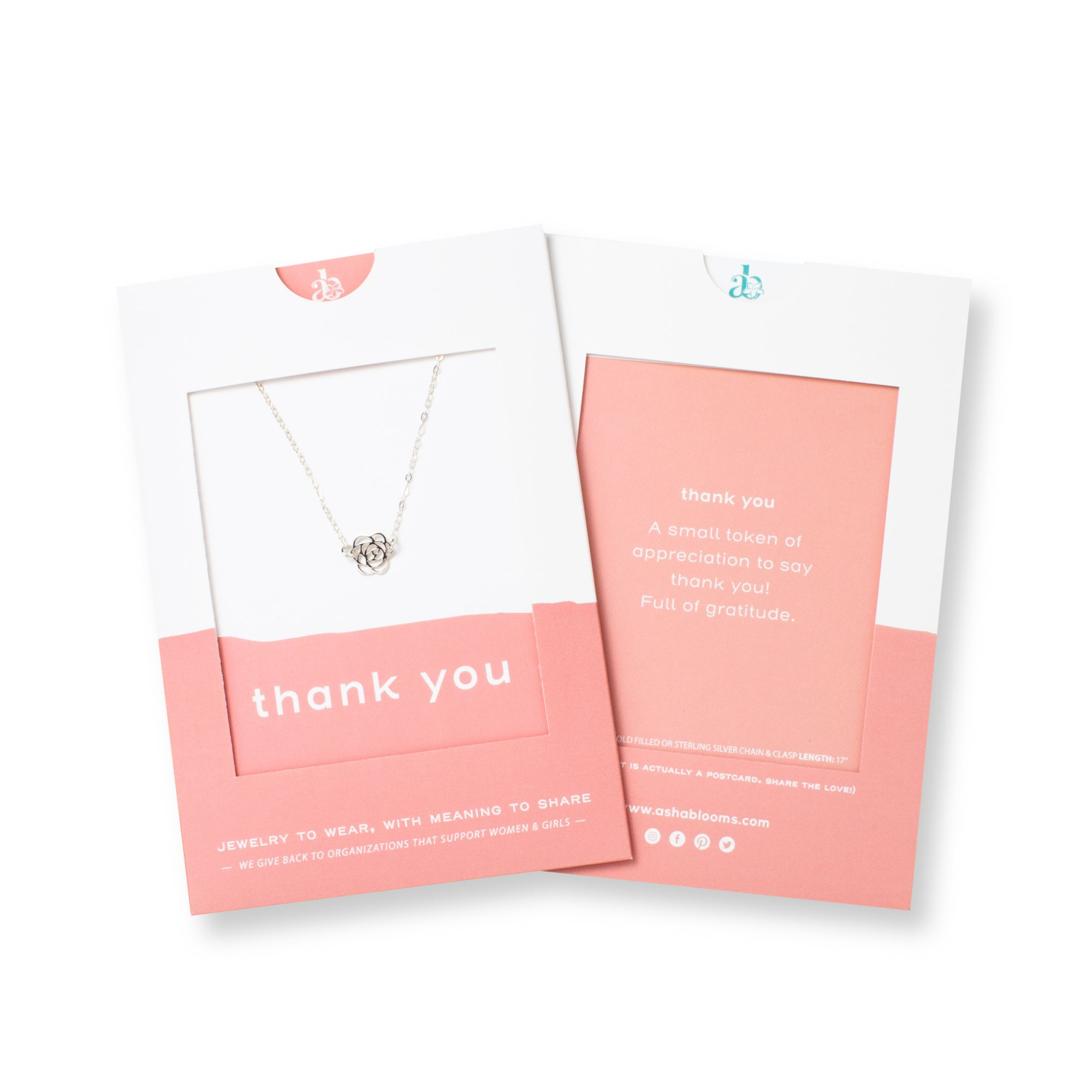 Silver Rose Pendant Necklace 'Thank You' in Pink Gift Message Sleve Packaging Photo by Asha Blooms