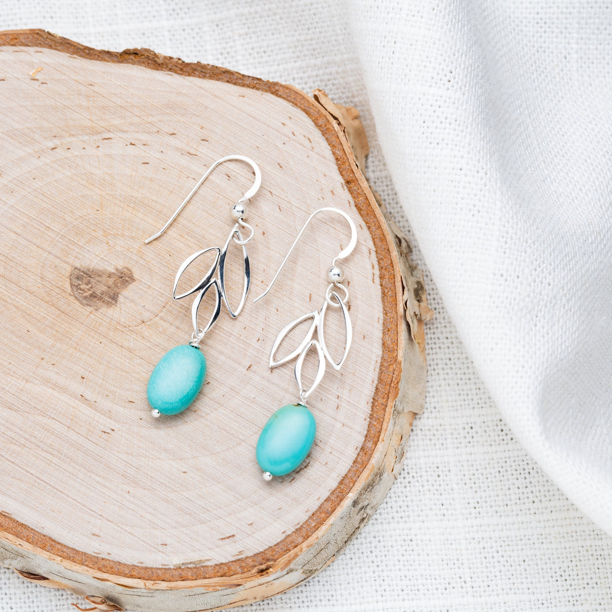 Turquoise Sterling Silver Marquis Earrings | Well-Being, Balance