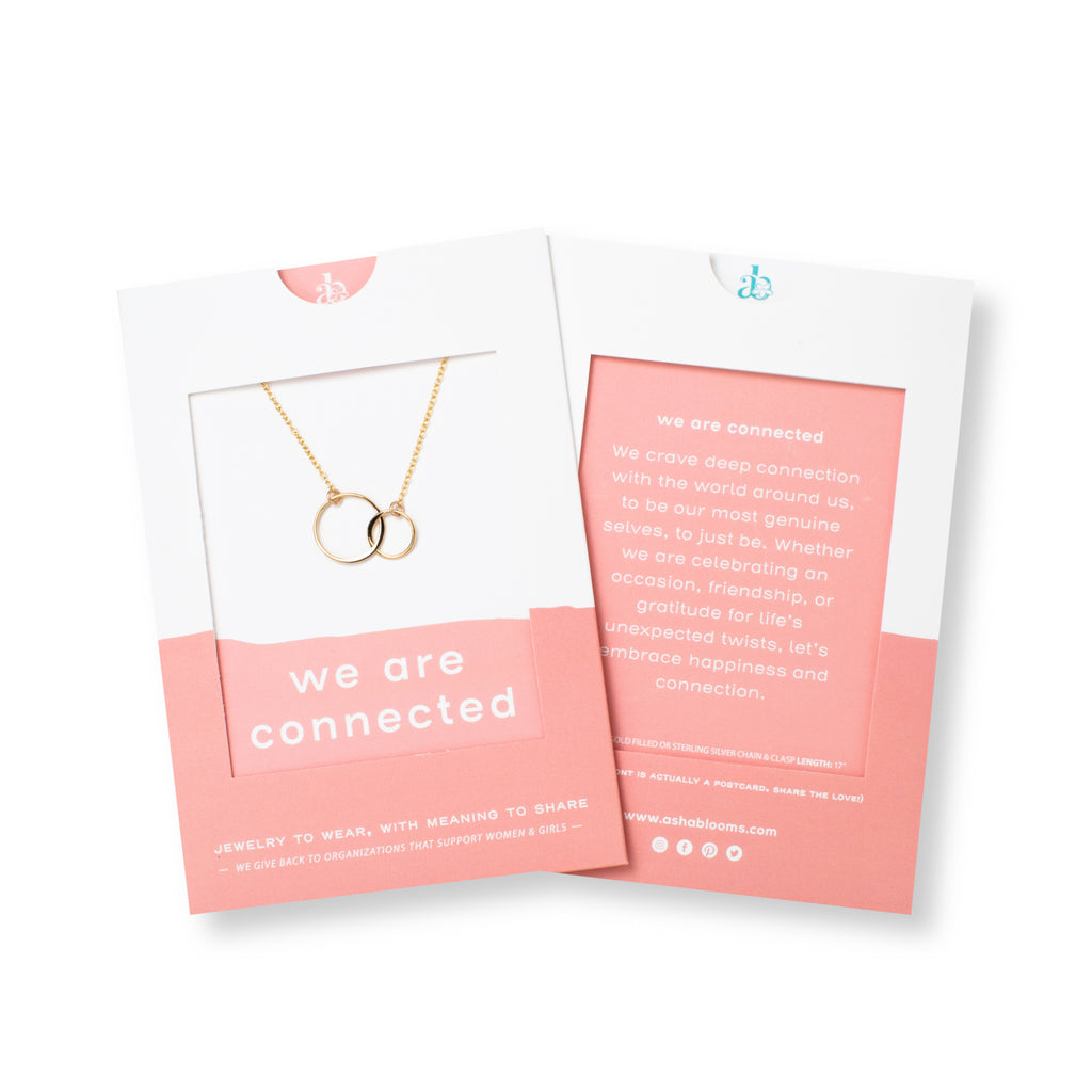 Gold Linked Circles Necklace 'We Are Connected' in Pink Gift Message Sleeve Packaging Photo by Asha Blooms