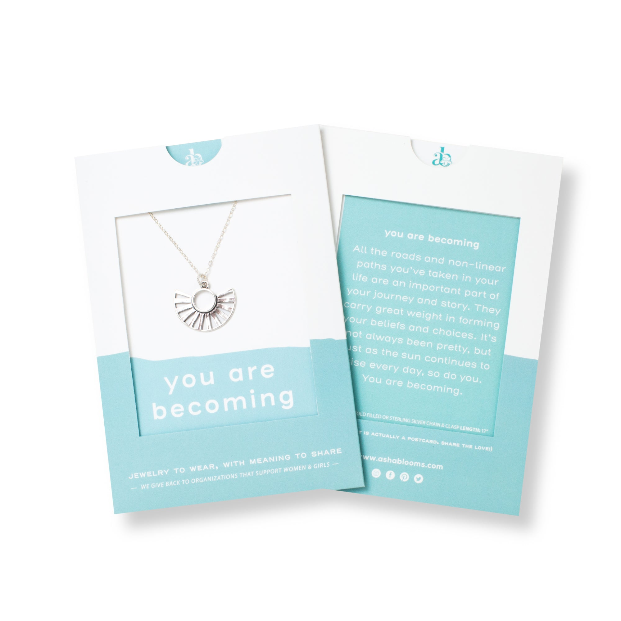 Silver Sun Pendant Necklace 'You Are Becoming' in Blue Gift Message Sleeve Packaging Photo by Asha Blooms