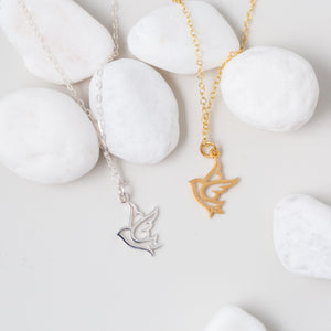 You Are Free to Soar   Gold or Silver Bird Pendant Necklace