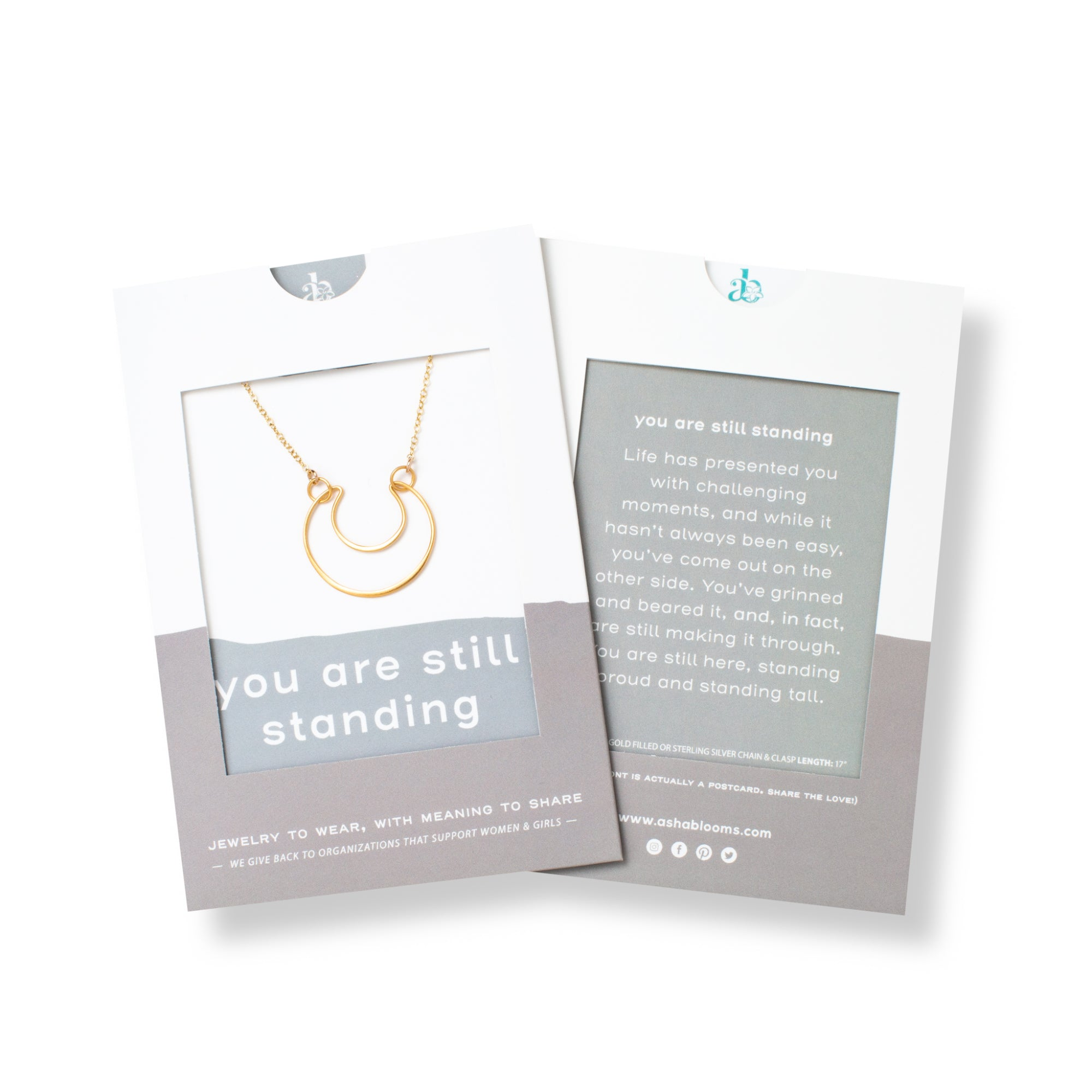 Gold Crescent Moon Pendant Necklace 'You Are Still Standing' in Gray Gift Message Sleeve Packaging Photo by Asha Blooms