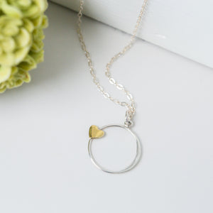 You Are Wonderful   Bronze Heart and Silver Circle Pendant Necklace