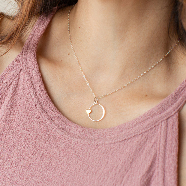 You Are Wonderful   Bronze Heart and Silver Circle Pendant Necklace 1