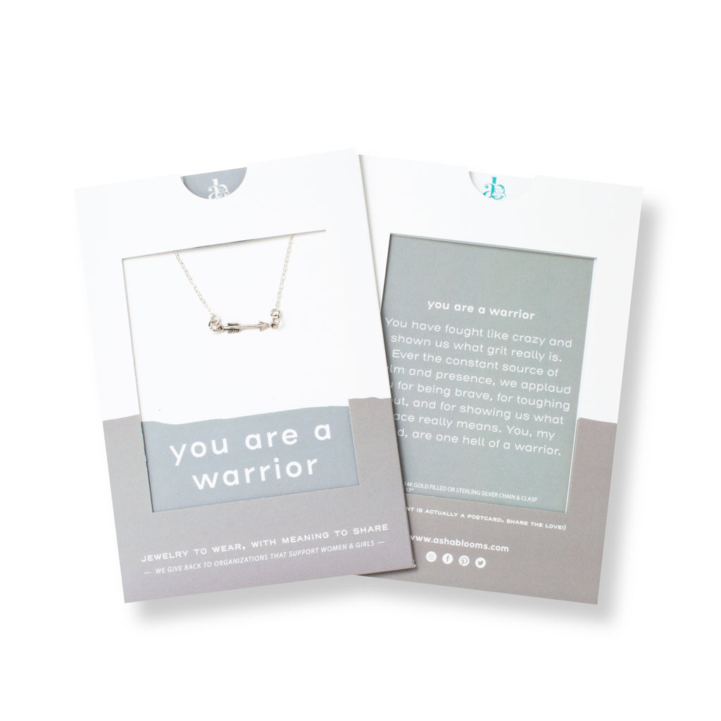 Silver Arrow Pendant Necklace 'You Are a Warrior' in Gray Gift Message Sleeve Packaging Photo by Asha Blooms