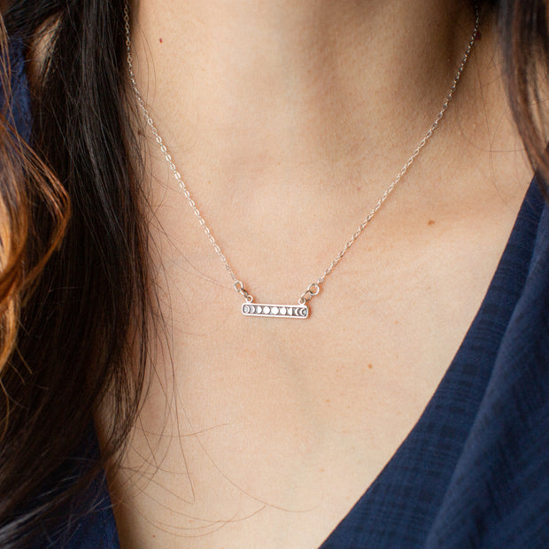 You Are the Change | Silver Moon Phases Pendant Necklace 1