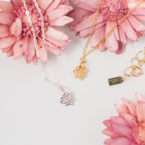 Gold or Silver Lotus Flower Pendant Necklace 'You Can Do Hard Things' Flat Lay with Pink Flowers Photo by Asha Blooms