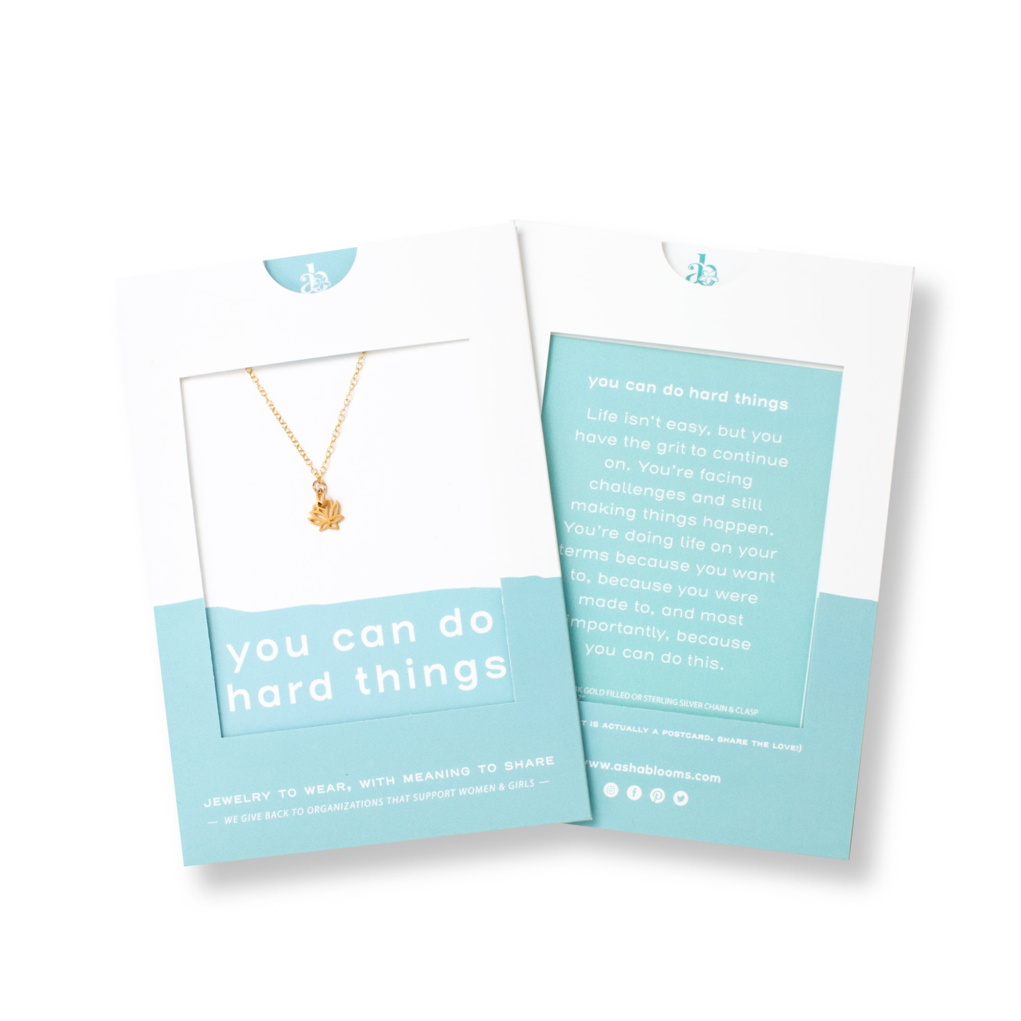 Gold Lotus Flower Pendant Necklace 'You Can Do Hard Things' in Blue Gift Message Sleeve Packaging Photo by Asha Blooms