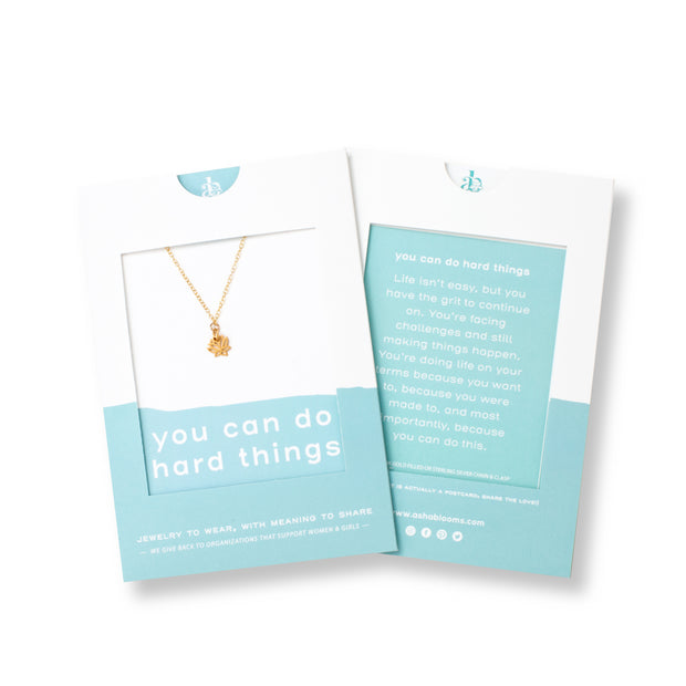 You Can Do Hard Things | Gold or Silver Lotus Flower Pendant Necklace 1