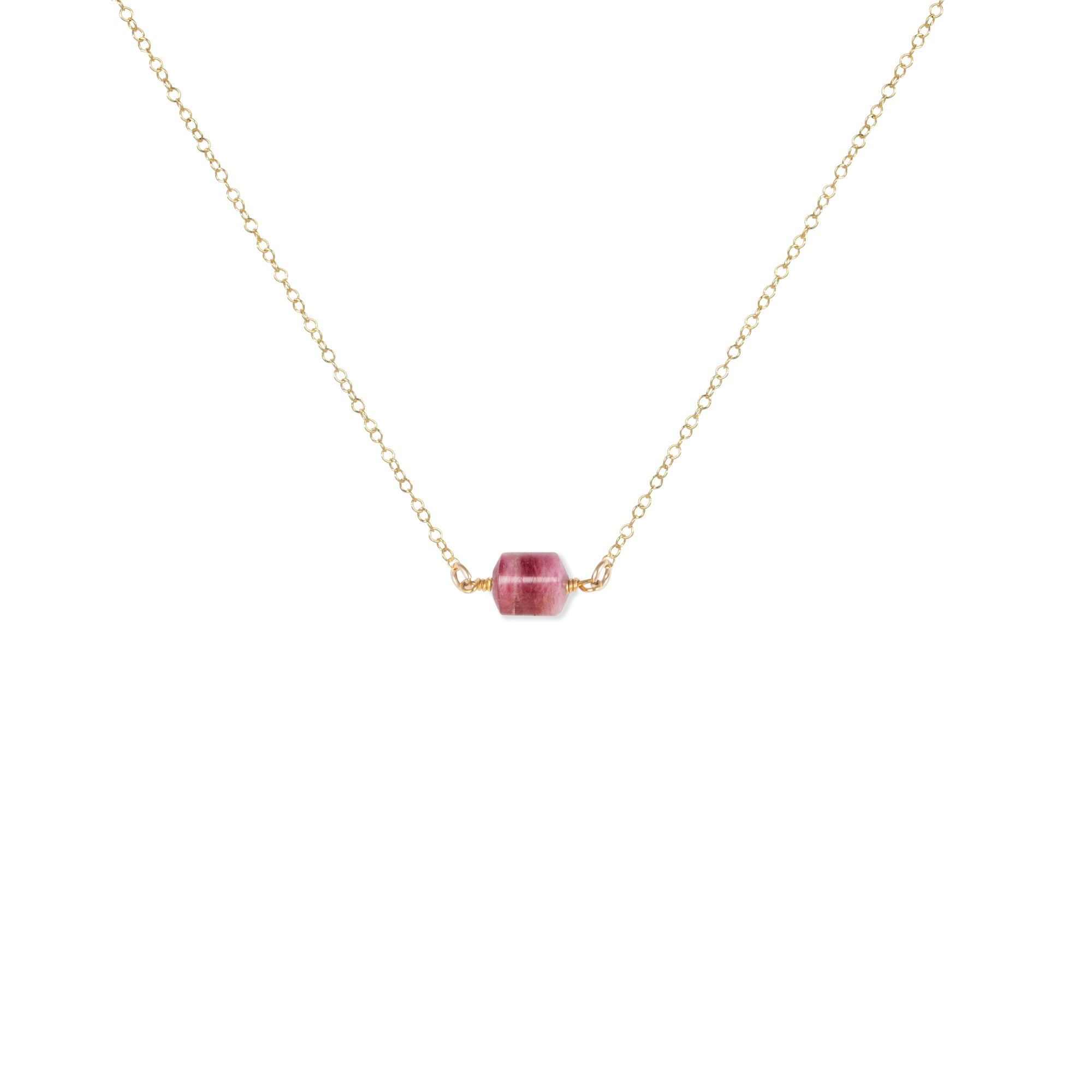 Close-up of Rubellite Tourmaline and Gold Necklace 'You Rock' on White Background Product Photo by Asha Blooms