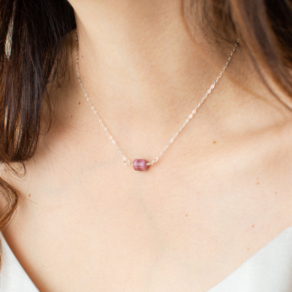 Close-up of Woman in White Shirt Wearing Rubellite Tourmaline and Silver Necklace 'You Rock' Model Photo by Asha Blooms