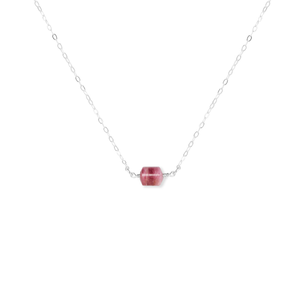 Close-up of Rubellite Tourmaline and Silver Necklace 'You Rock' on White Background Product Photo by Asha Blooms