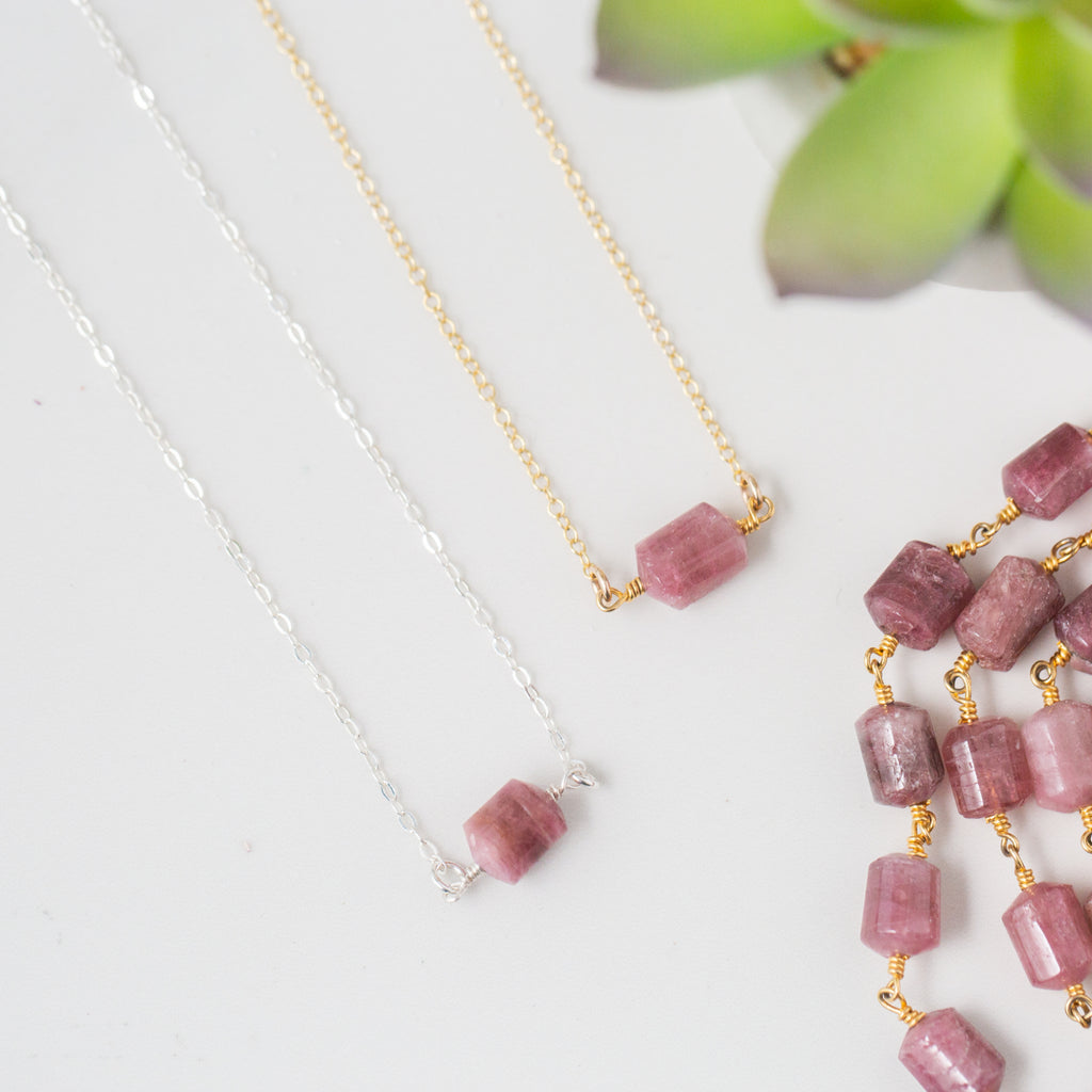 Rubellite Tourmaline and Gold or Silver Necklace 'You Rock' Flat Lay with Green Leaves Photo by Asha Blooms