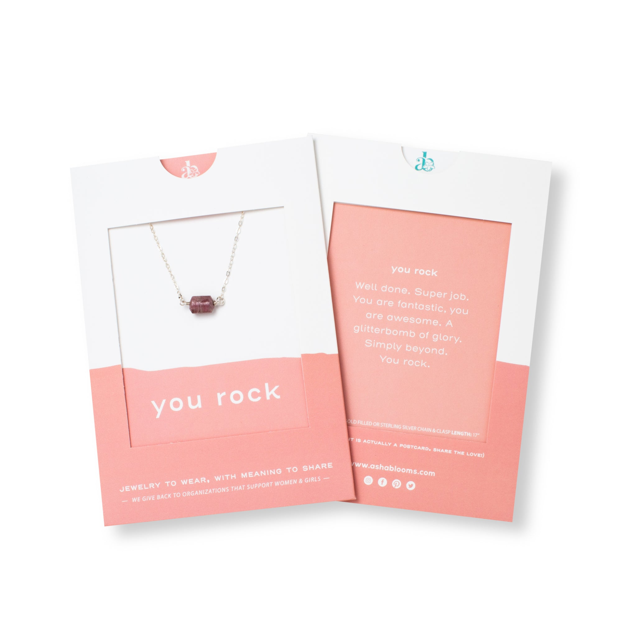 Rubellite Tourmaline and Silver Necklace 'You Rock' in Pink Gift Message Packaging Photo by Asha Blooms