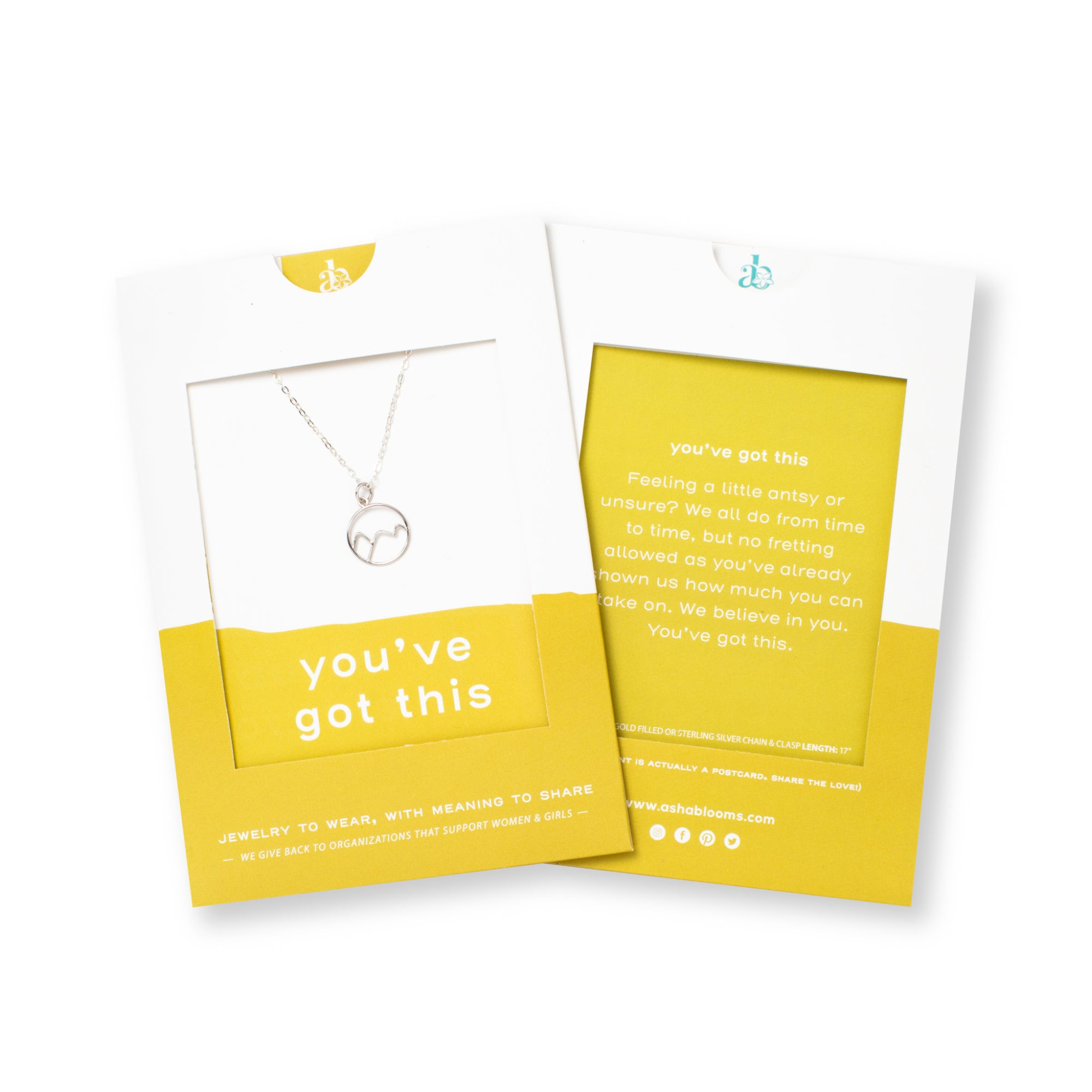 Silver Mountains Pendant Necklace 'You've Got This' in Yellow Gift Message Sleeve Packaging Photo by Asha Blooms