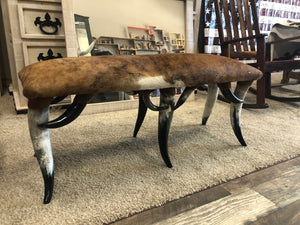 Cowhide Bench with Horn Legs