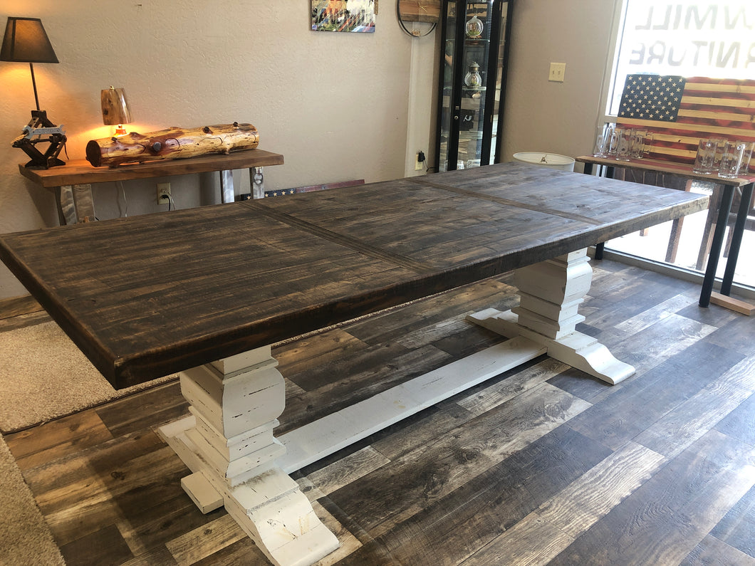 8 foot dining table and bench to match