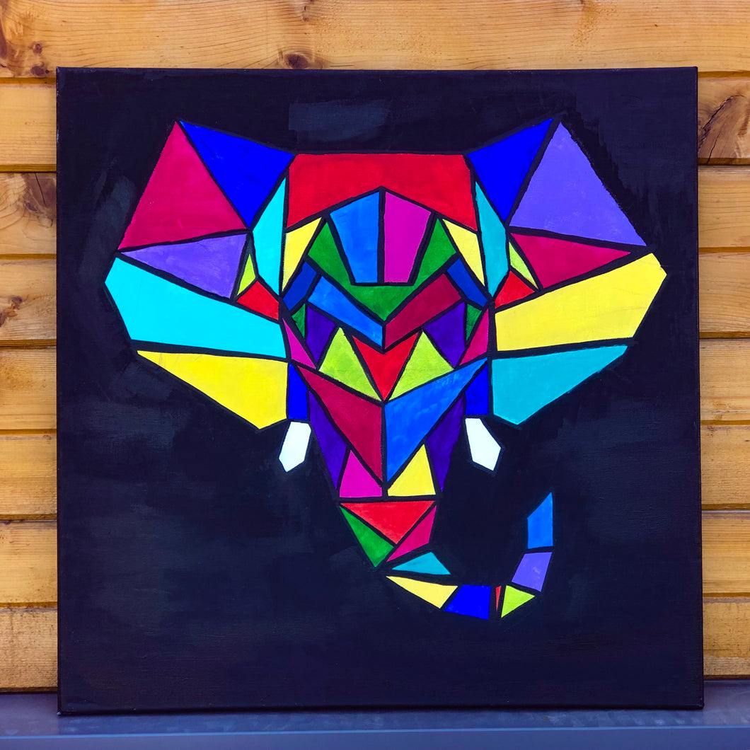 Geometric Elephant Painting