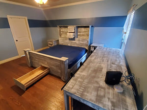 Platform Bed with Storage and Dog Kennel