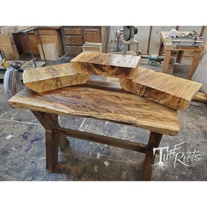 Sweet gum slab table made and shelves.