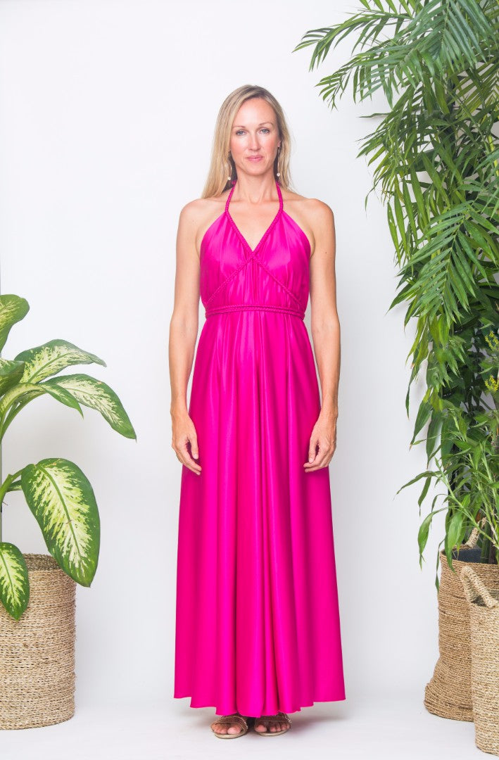 GOLDUST Kepang Dress in Fushia Pink Satin