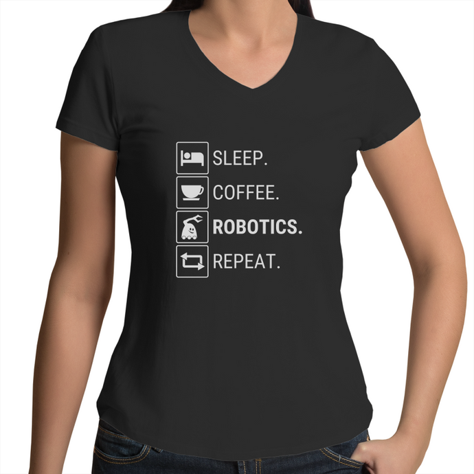 Robot Repeat T-Shirt | Womens V-Neck T-Shirt