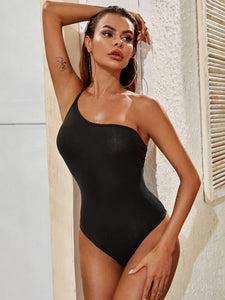 One Shoulder Solid Slip Bodysuit