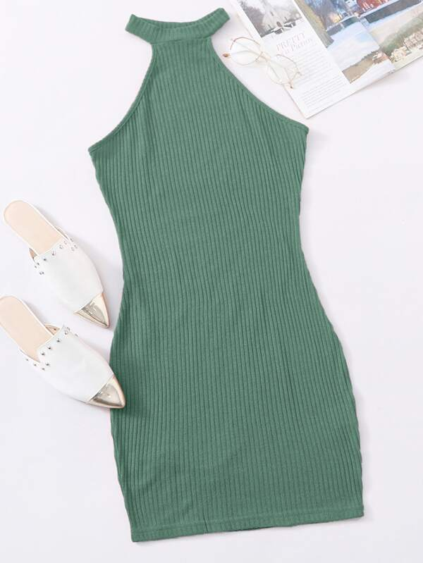 Rib-knit Halter Dress