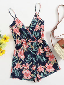 Neck Tropical Print Slip Romper