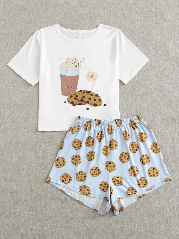 Cartoon Graphic PJ Set