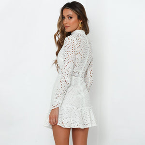 Dress White Lace Embroidery Long Sleeve